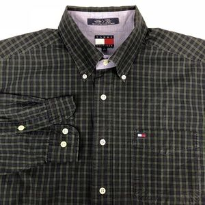 Vintage Tommy Hilfiger Green Navy Check Shirt L